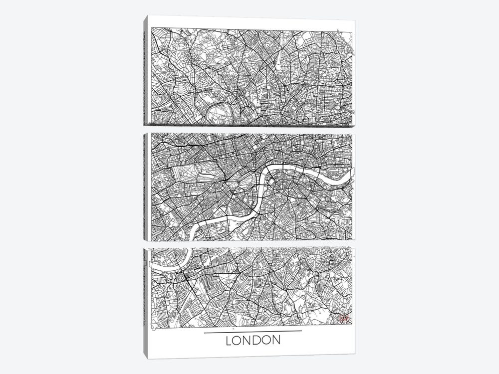 London Minimal Urban Blueprint Map by Hubert Roguski 3-piece Art Print