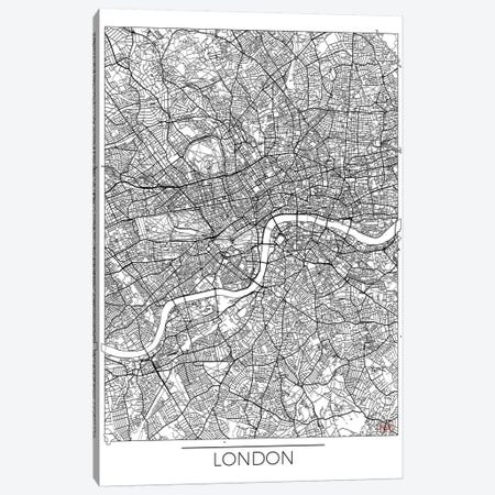 London Minimal Urban Blueprint Map 3-Piece Canvas #HUR186} by Hubert Roguski Canvas Artwork