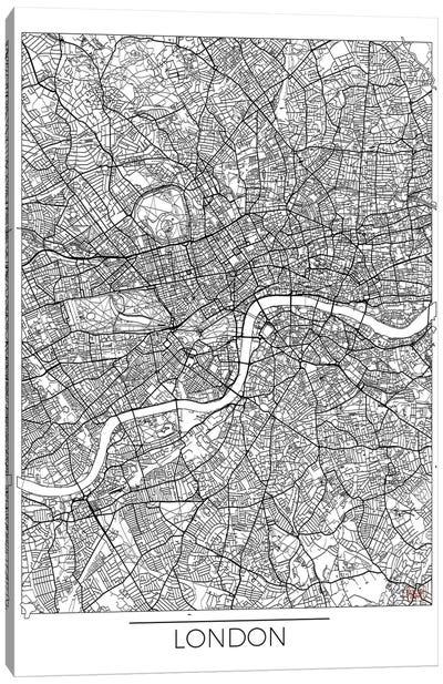 London Minimal Urban Blueprint Map Canvas Art Print