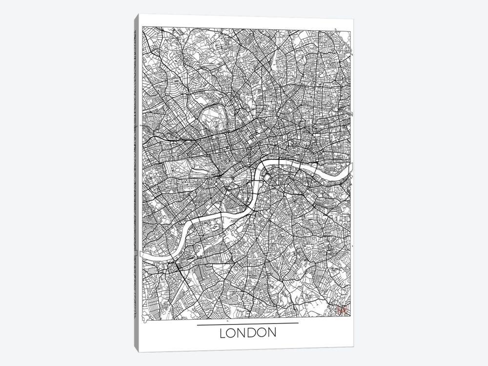 London Minimal Urban Blueprint Map by Hubert Roguski 1-piece Canvas Art Print