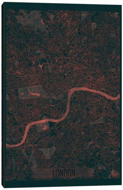 London Infrared Urban Blueprint Map Canvas Art Print
