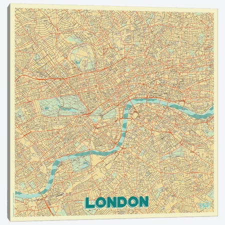 London Retro Urban Blueprint Map 3-Piece Canvas #HUR188} by Hubert Roguski Canvas Art Print