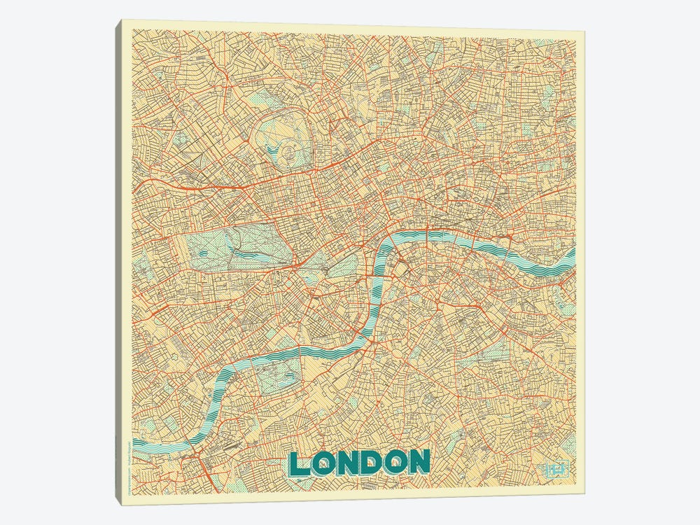 London Retro Urban Blueprint Map by Hubert Roguski 1-piece Art Print