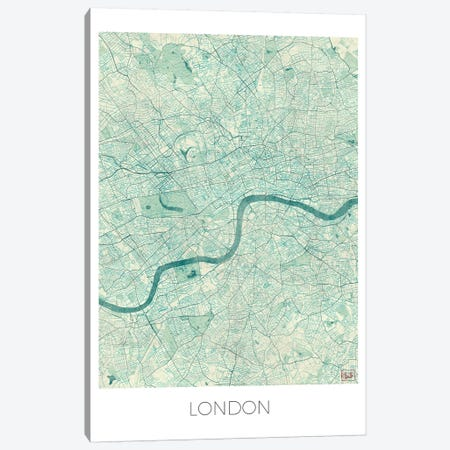 London Vintage Blue Watercolor Urban Blueprint Map Canvas Print #HUR189} by Hubert Roguski Canvas Art Print