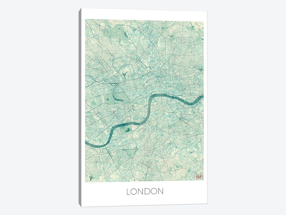 London Vintage Blue Watercolor Urban Blueprint Map by Hubert Roguski 1-piece Canvas Wall Art