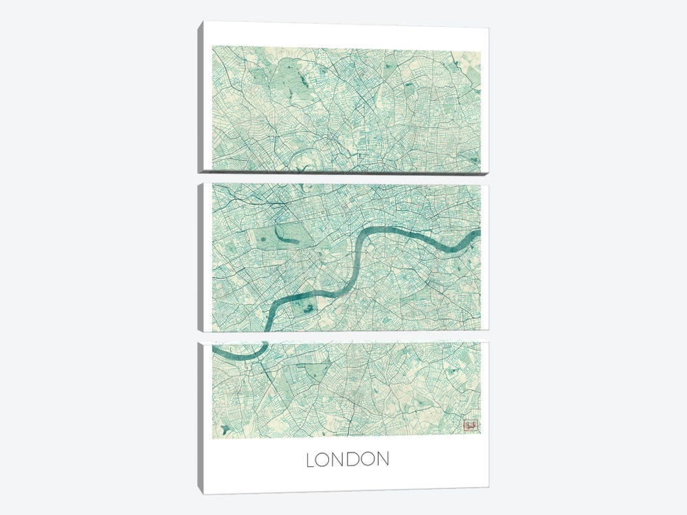 London Vintage Blue Watercolor Urban Blueprint Map by Hubert Roguski 3-piece Canvas Wall Art