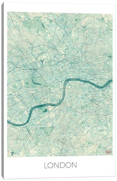 London Vintage Blue Watercolor Urban Blueprint Map Canvas Art Print