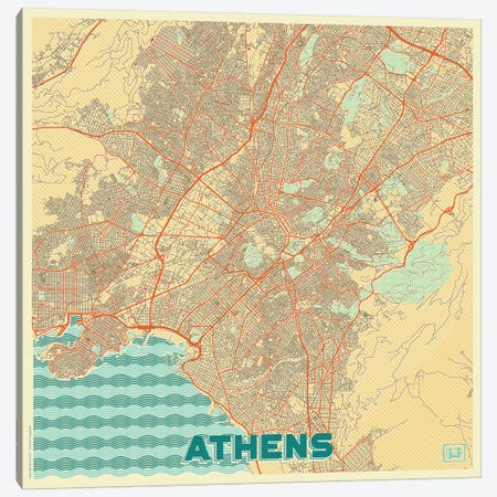 Athens Retro Urban Blueprint Map Canvas Print #HUR18} by Hubert Roguski Canvas Wall Art