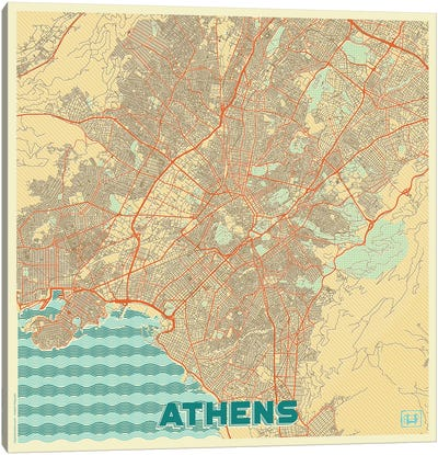 Athens Retro Urban Blueprint Map Canvas Art Print