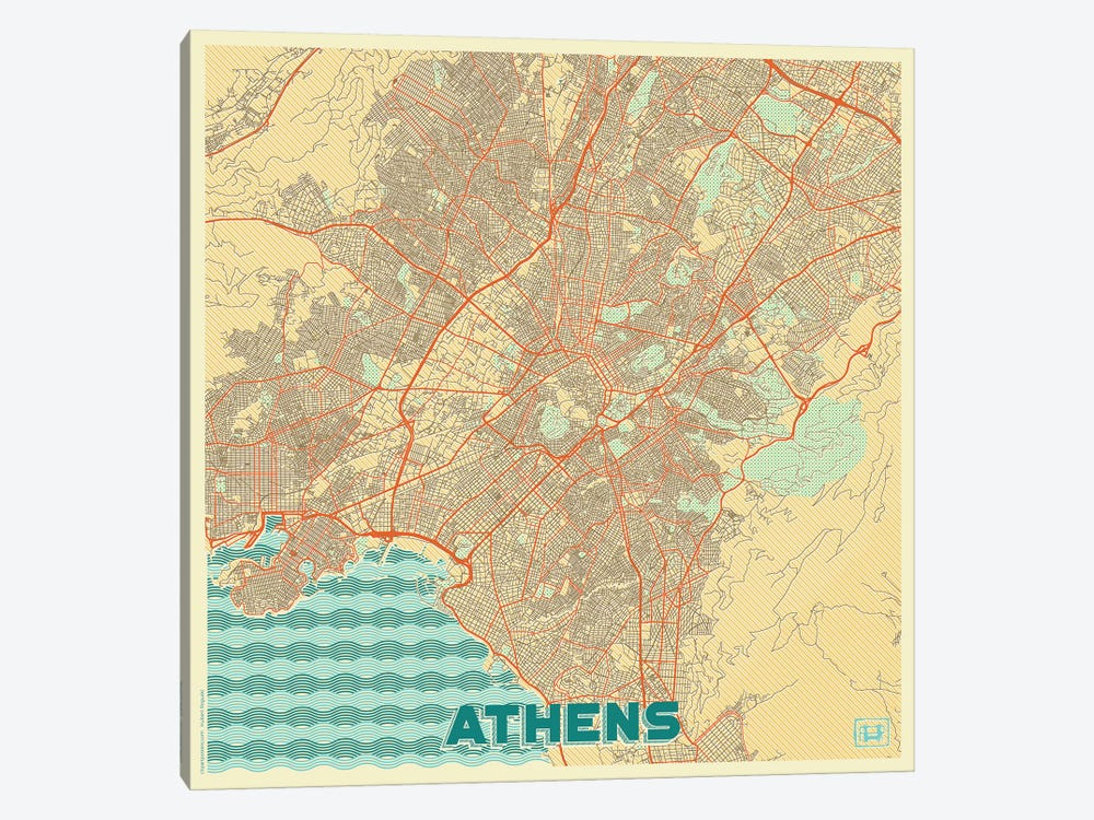 Athens Retro Urban Blueprint Map by Hubert Roguski 1-piece Canvas Art Print