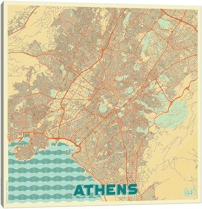 Athens Retro Urban Blueprint Map Canvas Art Print