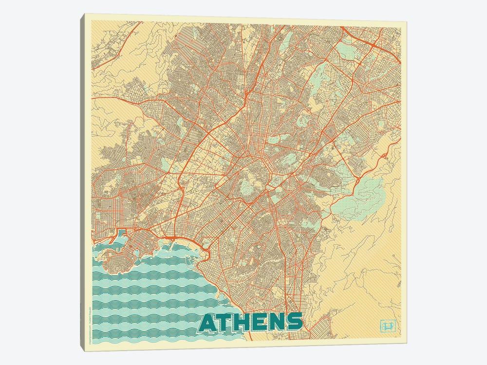 Athens Retro Urban Blueprint Map by Hubert Roguski 1-piece Canvas Art Print