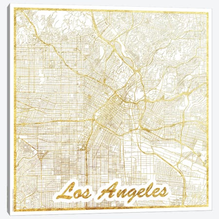 Los Angeles Gold Leaf Urban Blueprint Map Canvas Print #HUR190} by Hubert Roguski Canvas Wall Art