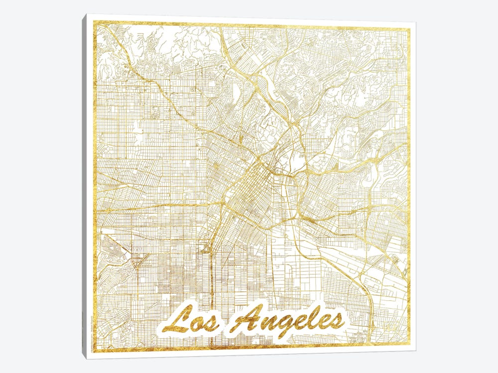 Los Angeles Gold Leaf Urban Blueprint Map by Hubert Roguski 1-piece Canvas Artwork