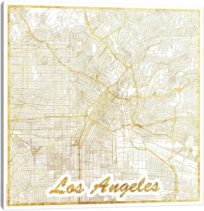 Los Angeles Gold Leaf Urban Blueprint Map Canvas Art Print