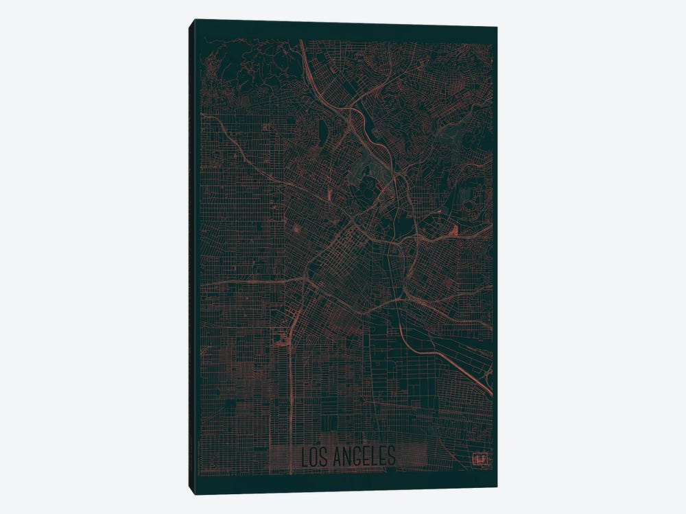 Los Angeles Infrared Urban Blueprint Map by Hubert Roguski 1-piece Canvas Art