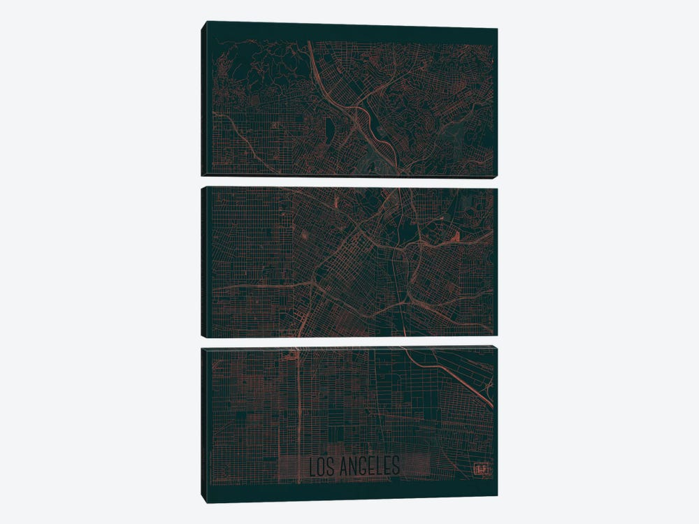 Los Angeles Infrared Urban Blueprint Map by Hubert Roguski 3-piece Canvas Wall Art