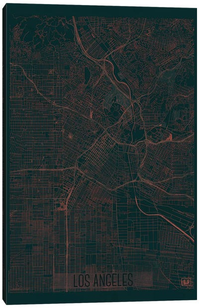 Los Angeles Infrared Urban Blueprint Map Canvas Art Print