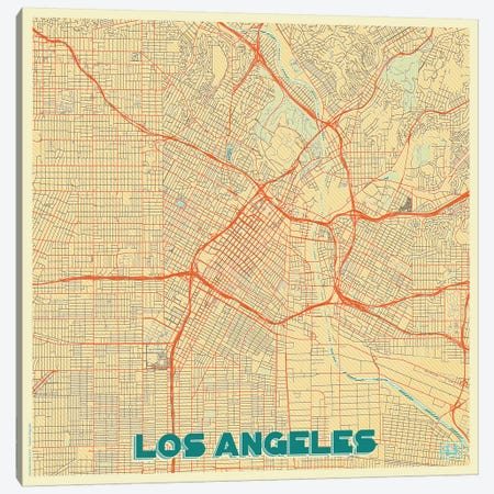 Los Angeles Retro Urban Blueprint Map Canvas Print #HUR193} by Hubert Roguski Canvas Wall Art