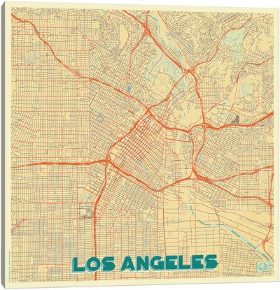 Los Angeles Retro Urban Blueprint Map Canvas Art Print