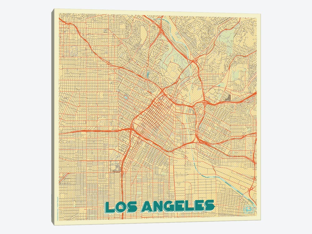 Los Angeles Retro Urban Blueprint Map by Hubert Roguski 1-piece Art Print