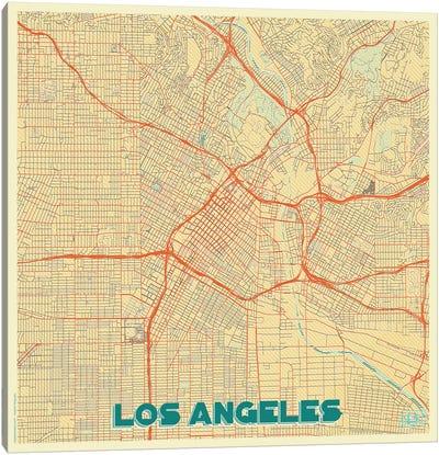Los Angeles Retro Urban Blueprint Map Canvas Art Print
