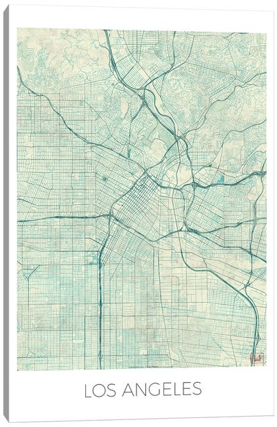 Los Angeles Vintage Blue Watercolor Urban Blueprint Map Canvas Art Print