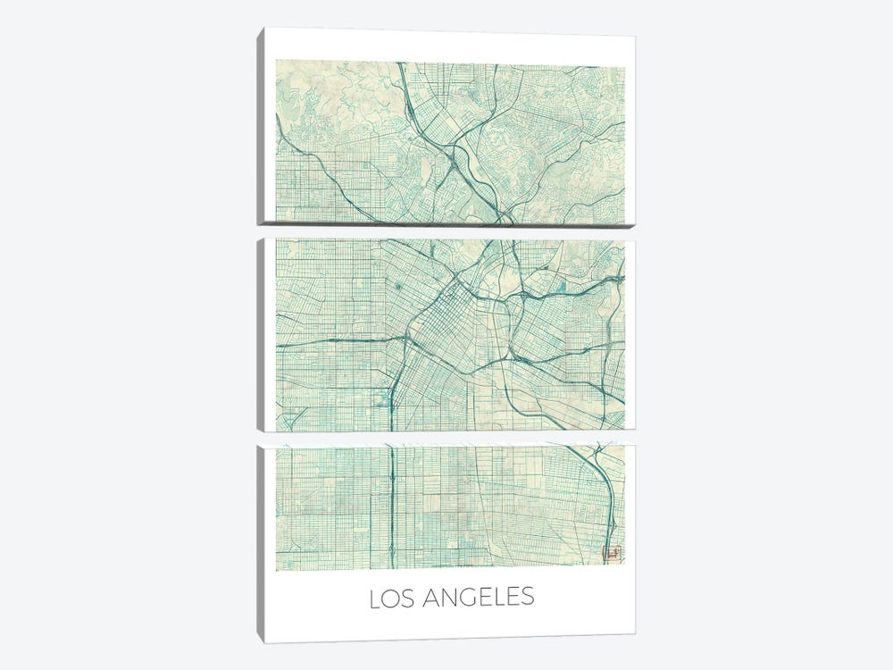 Los Angeles Vintage Blue Watercolor Urban Blueprint Map by Hubert Roguski 3-piece Canvas Wall Art