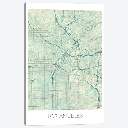Los Angeles Vintage Blue Watercolor Urban Blueprint Map 3-Piece Canvas #HUR194} by Hubert Roguski Canvas Art Print