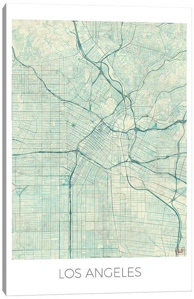 Los Angeles Vintage Blue Watercolor Urban Blueprint Map Canvas Art Print