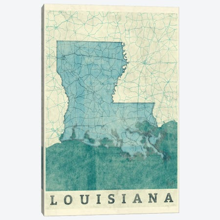 Louisiana Map 3-Piece Canvas #HUR195} by Hubert Roguski Canvas Print