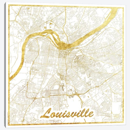 Louisville Gold Leaf Urban Blueprint Map Canvas Print #HUR196} by Hubert Roguski Art Print