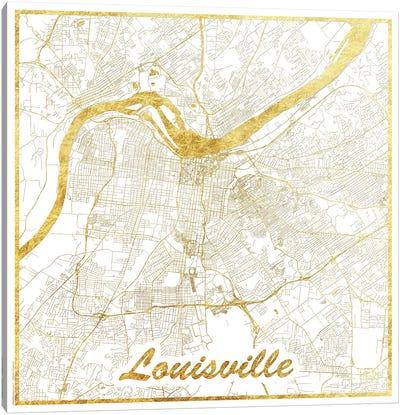 Louisville Gold Leaf Urban Blueprint Map Canvas Art Print