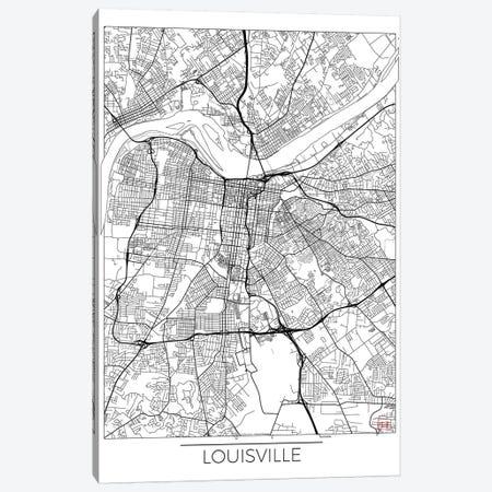 Louisville Minimal Urban Blueprint Map Canvas Print #HUR197} by Hubert Roguski Canvas Print