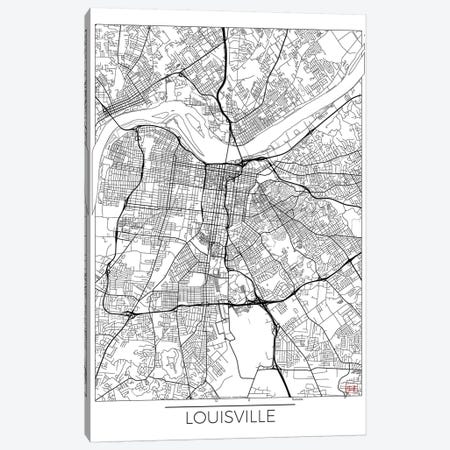 Louisville Minimal Urban Blueprint Map Canvas Print #HUR197} by Hubert Roguski Canvas Print