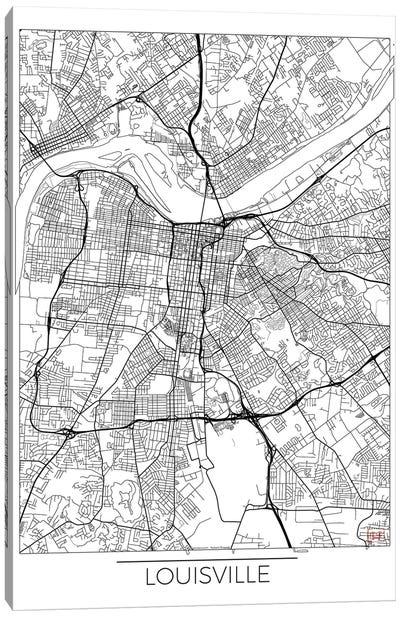 Louisville Minimal Urban Blueprint Map Canvas Art Print