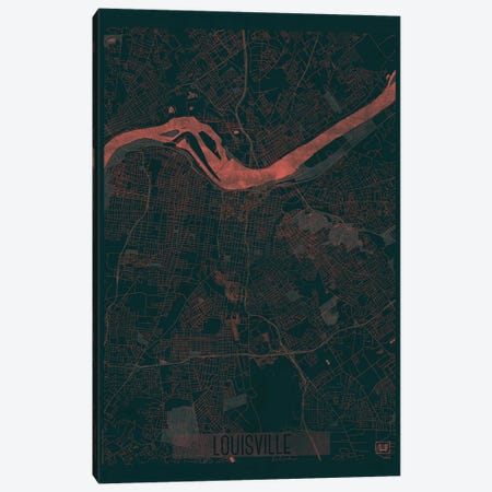 Louisville Infrared Urban Blueprint Map Canvas Print #HUR198} by Hubert Roguski Canvas Wall Art