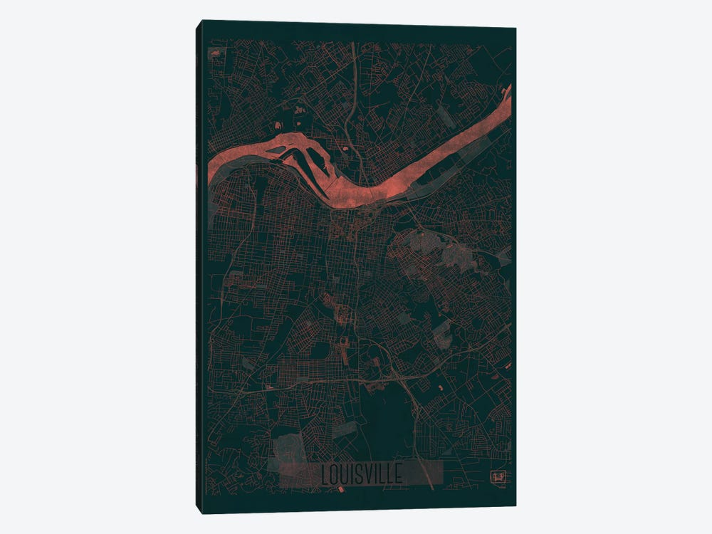 Louisville Infrared Urban Blueprint Map 1-piece Canvas Artwork