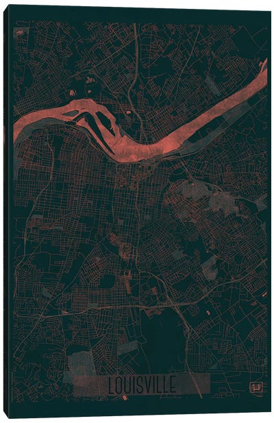 Louisville Infrared Urban Blueprint Map Canvas Art Print