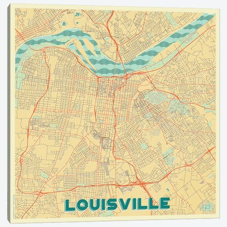 Louisville Retro Urban Blueprint Map Canvas Print #HUR199} by Hubert Roguski Canvas Art