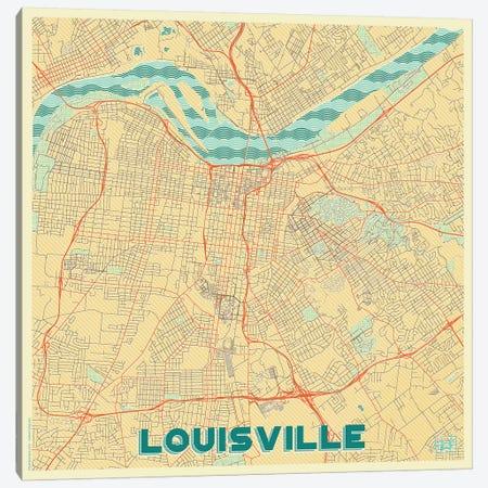 Louisville Retro Urban Blueprint Map Canvas Print #HUR199} by Hubert Roguski Canvas Art
