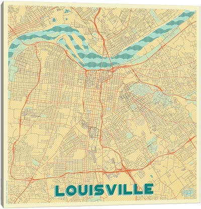 Louisville Retro Urban Blueprint Map Canvas Art Print