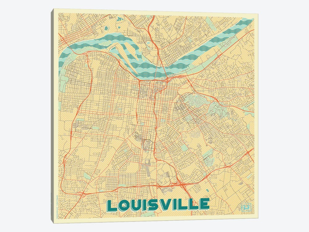Louisville Retro Urban Blueprint Map by Hubert Roguski 1-piece Art Print