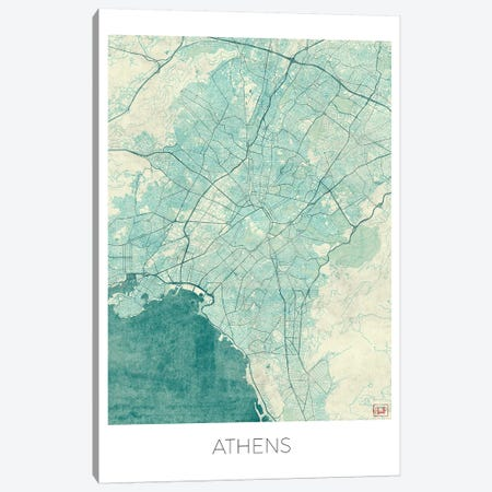 Athens Vintage Blue Watercolor Urban Blueprint Map Canvas Print #HUR19} by Hubert Roguski Canvas Art