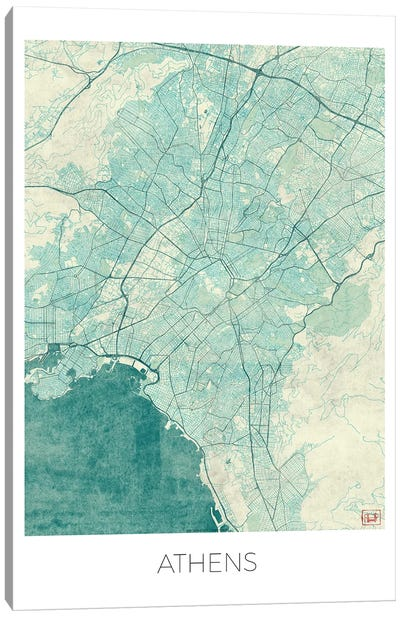 Athens Vintage Blue Watercolor Urban Blueprint Map Canvas Art Print