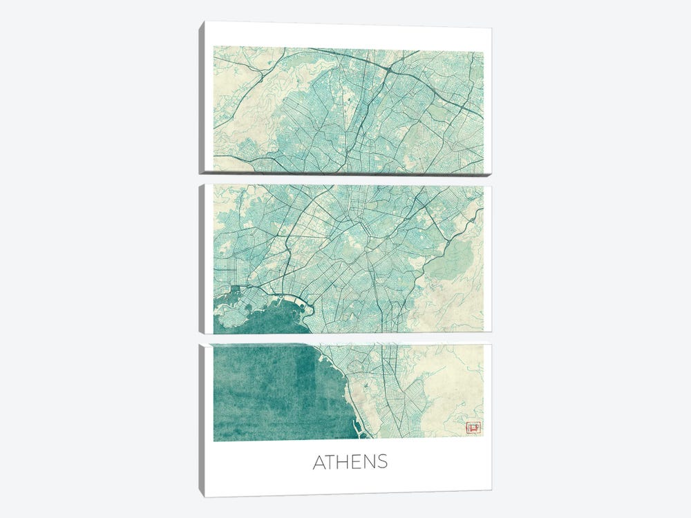 Athens Vintage Blue Watercolor Urban Blueprint Map by Hubert Roguski 3-piece Canvas Wall Art