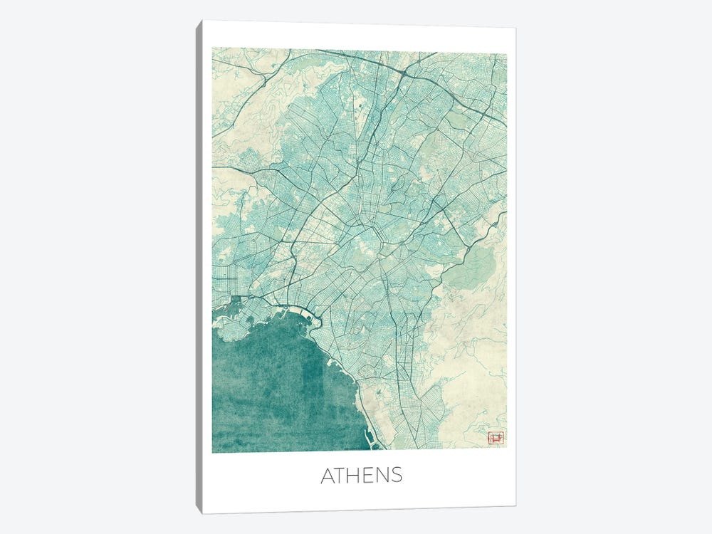 Athens Vintage Blue Watercolor Urban Blueprint Map by Hubert Roguski 1-piece Canvas Wall Art