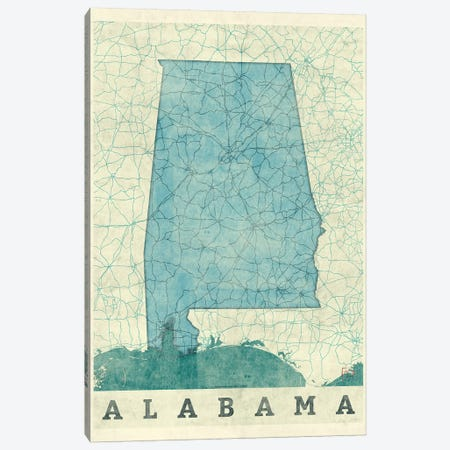 Alabama Map Canvas Print #HUR1} by Hubert Roguski Canvas Art