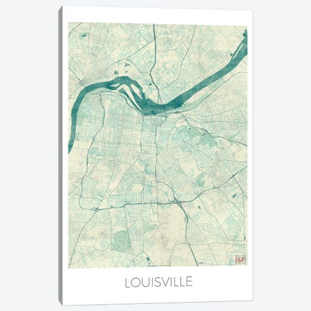 Louisville Vintage Blue Watercolor Urban Blueprint Map Canvas Print #HUR200} by Hubert Roguski Canvas Wall Art