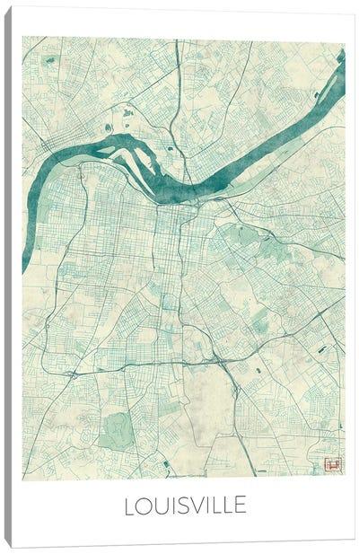 Louisville Vintage Blue Watercolor Urban Blueprint Map Canvas Art Print